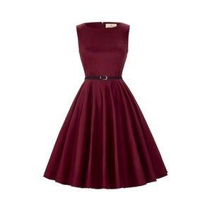 Dresses & Skirts - DarkRed Boatneck Vintage Tea Belted Dress